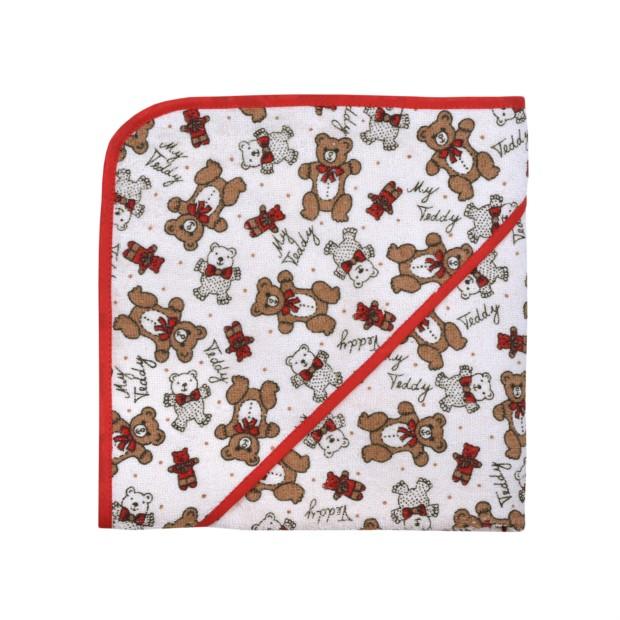 Druck Teddy natur Kapuzen-Bt. Größe 80/80