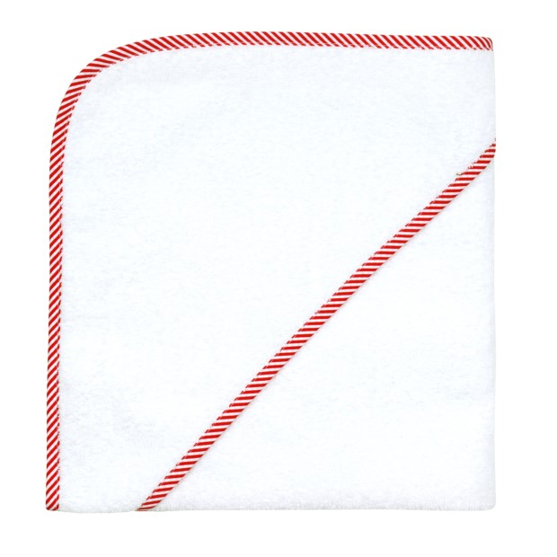 weiss-Streifen rot Kapuzen-Badetuch 100 x 100 cm