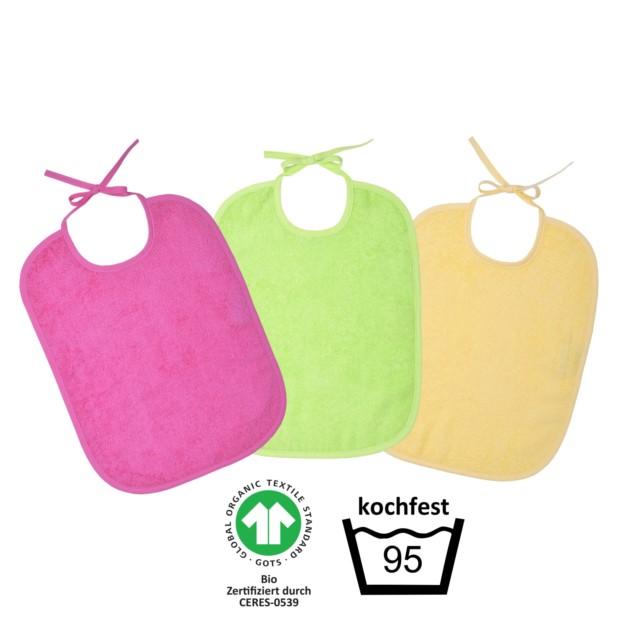 GOTS kochfest pink Riesen-Bindelatz 3er Pack 32/40