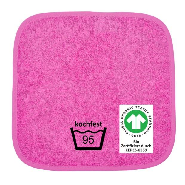 GOTS kochfest pink Seiftuch 30x30 cm