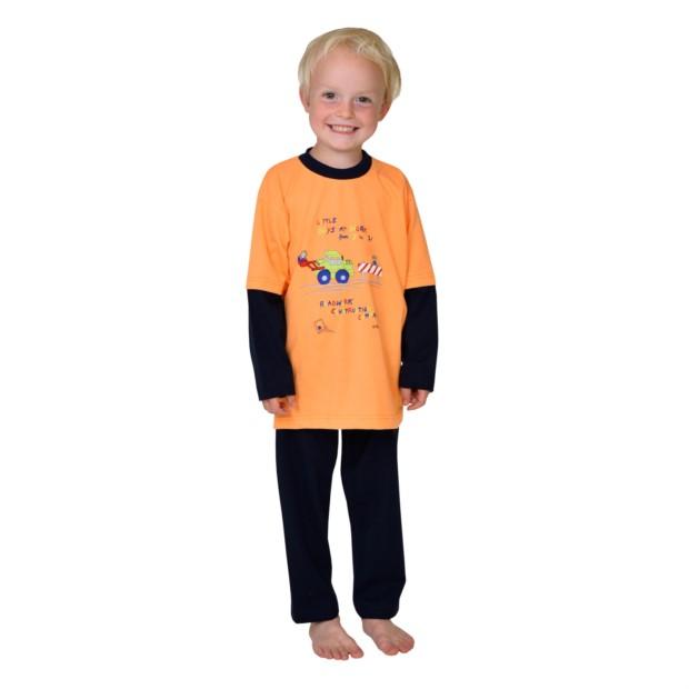 Kn.Single Schlafanzug 2-tlg. Radlader orange80-116